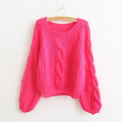 Cable Knit Scoop Neck Puff-Sleeved ..