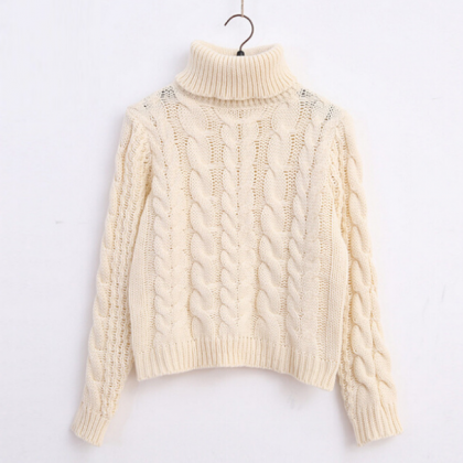 Cable Knit Turtleneck Long Cuffed S..
