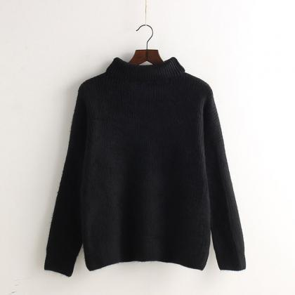 Minimal High Collar Knit Pullover S..