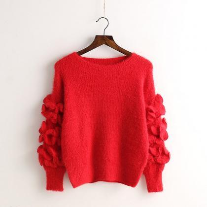Petal Sleeve Embroidery Solid Color..