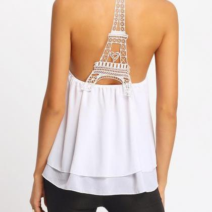 Eiffel Tower Cut Out Back Tank Top ..