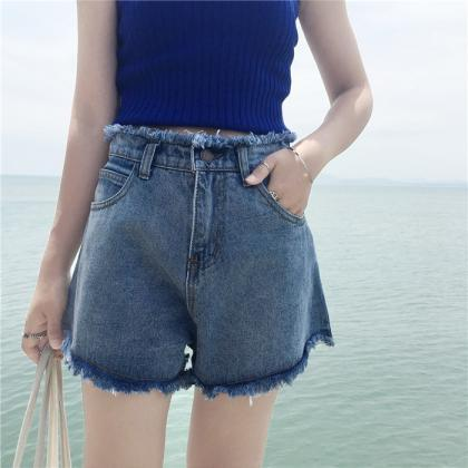 High Waist Rough A-line Loose Denim..
