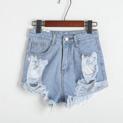 High Waisted Distressed Jean Shorts..
