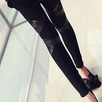 Lace Patchwork Plus Size PU Skinny ..