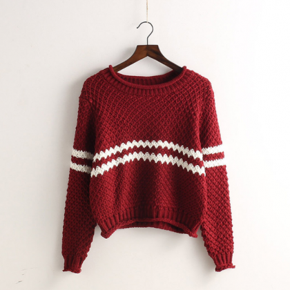Striped Pullover Knit Fashion Scoop..