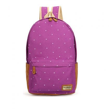 Polka Dot Candy Color Canvas Backpa..