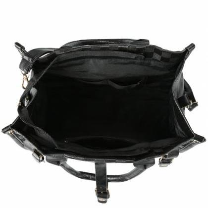 Women's Black PU Leather Handbag To..
