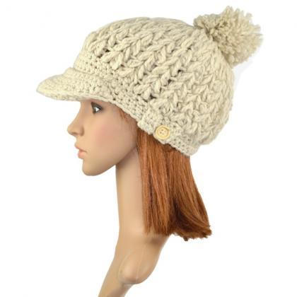 Women's Wool Winter Hat Thick line ..