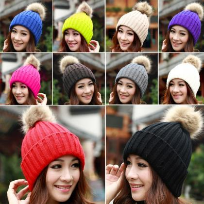 New Women's Knit Cap Beanie Hat Wit..