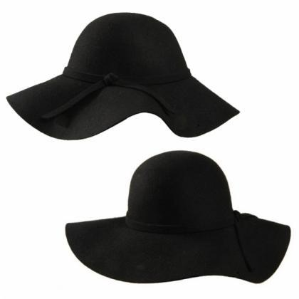 New Fashion Vintage Black Wide Brim..
