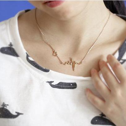 ECG heart Shape Fashion Clavicle Co..