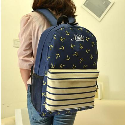 Anchor Print Hot style Navy Stripe ..