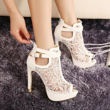 Peep-Toe Lace Mesh High Heel Sandal..
