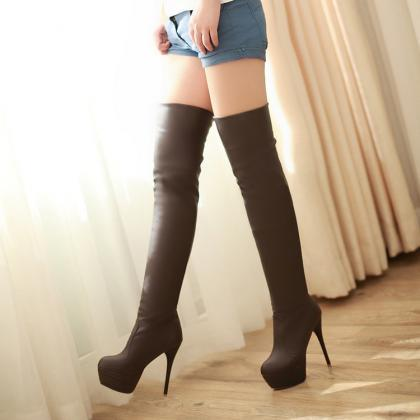 Sexy Knee-High Soft PU Nightclubs M..