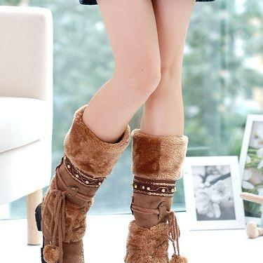 Fashion Warm Fur Tassel Snow Combat..