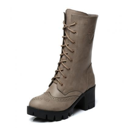 High Lace-Up Leather Cleated Boots