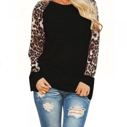 Scoop Long Sleeves Leopard Grain Lo..