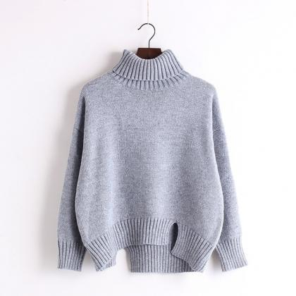 Knitted Turtleneck Long Cuffed Slee..