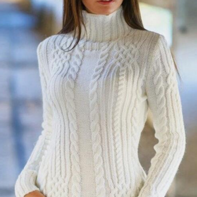 Cable High-neck Solid Slim Pullover..