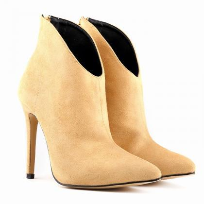 Suede Pointed Head High Heel Zipper..