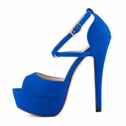 Fashion Peep Toe Cross Strap High H..