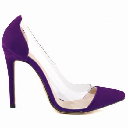 Pointed-toe Suede Stilettos with Tr..
