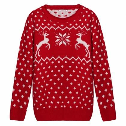Knitted Long Sleeve Ribbed Christma..