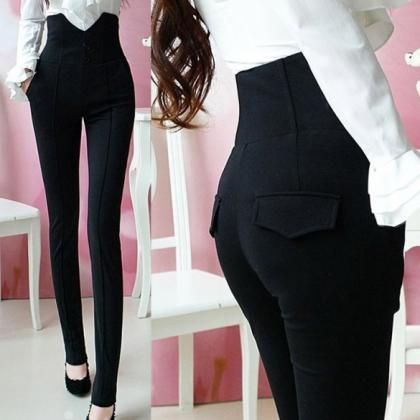 Ladys Black High Waist single-breas..