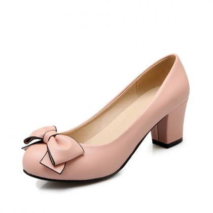 Sweet Bowknot Round Head Heels Shoe..