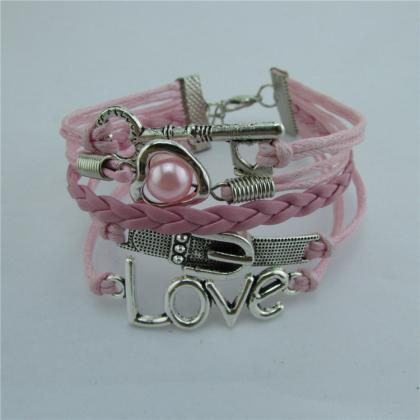 Romantic Pink LOVE Hearts Pearl Key..