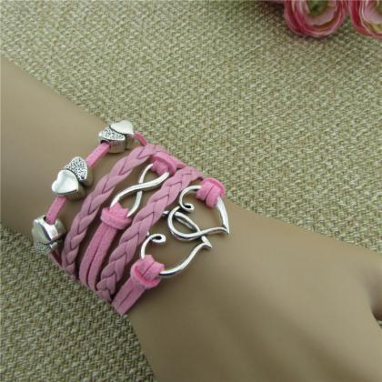 Sweet Pink Heart Wax String Bracele..