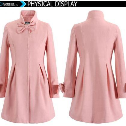 Bowknot Long Sleeves Stand Collar P..