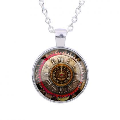 Gear Dial Pattern Time Gem Pendant ..
