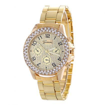 Fashion Alloy Strap Crystal Frosted..
