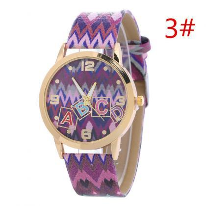Colorful Wave Line Print Watch
