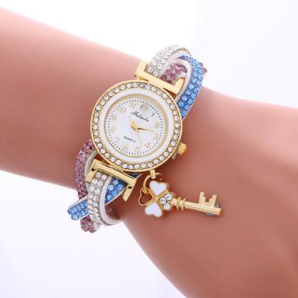 Colorful Crystal Twist Strap Key Wa..