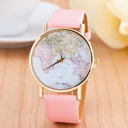 The World Map Faux Leather Strap Wa..