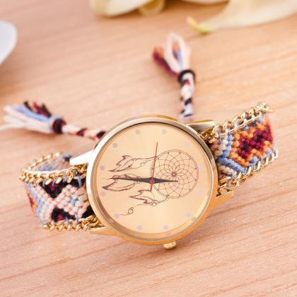 National Pink Style Woven DIY Watch