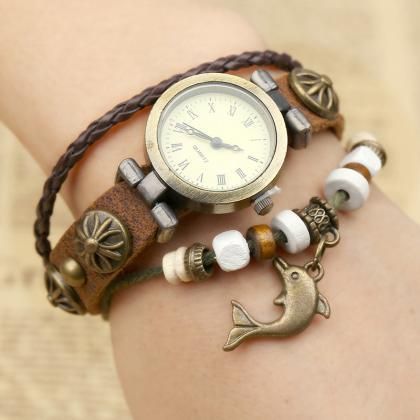 Punk Style Dolphin Bracelet Watch