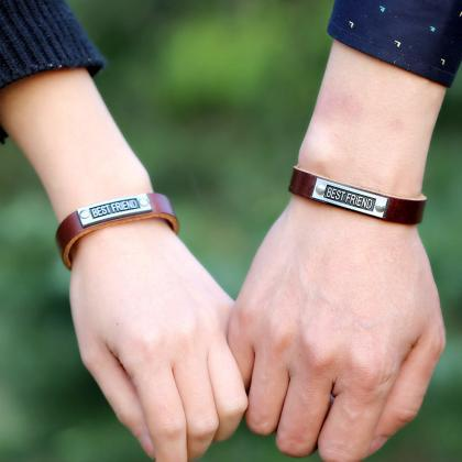 BEST FRIEND Leather Friendship Brac..