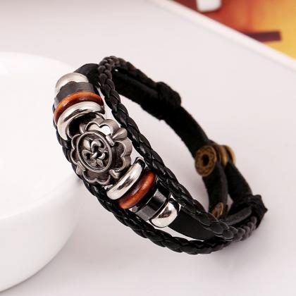 Carving Flower Multilayer Woven Lea..