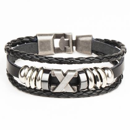 X Anchor Adjustable Woven Leather B..