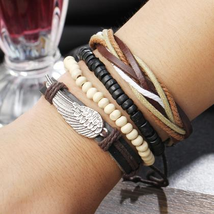 Retro Personality Wing Beaded Multi..