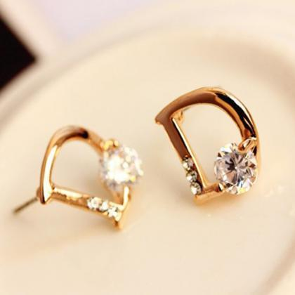 Crystal Letter D Golden Earrings