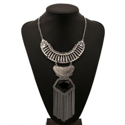 Retro long tassel gem diamond neckl..
