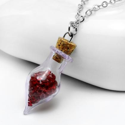 The glass bottle Rhinestone Necklac..