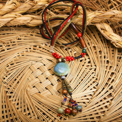 Chinese wind ceramic Long Necklace