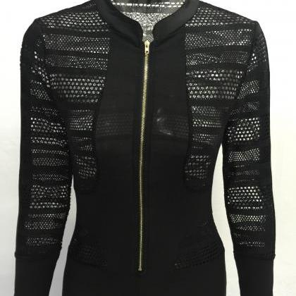 Black Hollow Out Zipper Long Sleeve..