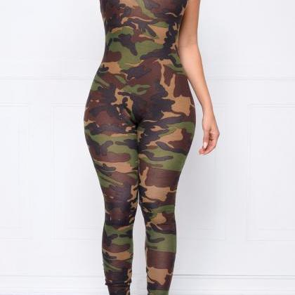 Camouflage Spaghetti Strap Backless..