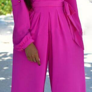 Rosy V-neck Long Sleeve Wide Leg Lo..